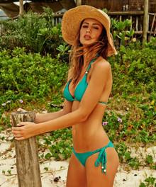 Vix Swimwear Solid Jade Chiffon Tie Bikini Set