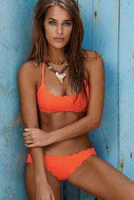 PilyQ Reversible Lazer Cut Bikini Set Omni Orange