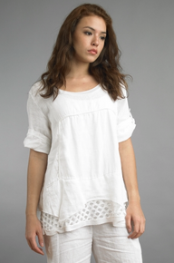Tempo Paris Linen Top 008JL White