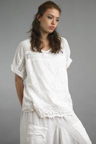 Tempo Paris 2225JL Embroidered Cap Sleeve Top White