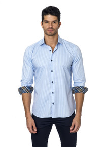 Jared Lang Button Down Shirt Tom 1134 Light Blue Stripe