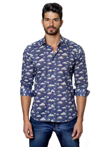 Jared Lang Button Down Shirt T-57 Cloud Print