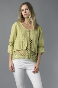 Tempo Paris 0097SO Linen Crop Jacket Citron