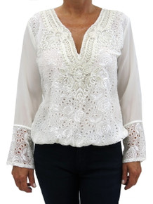 Taj by Sabrina S-2374 Embroidered Top Off White