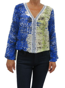 Taj by Sabrina S-6266 Embroidered Top Blue Citron Print