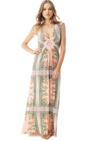 Sky Poncia Cap Sleeve Maxi Dress Blush Print