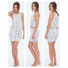 Indah Bow Mini Dress Grey Snake