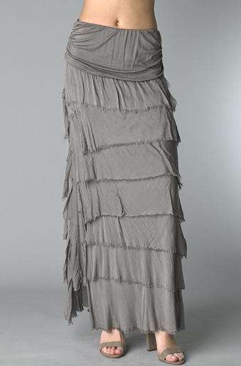 Tempo Paris Silk Maxi Skirt k221fn Taupe