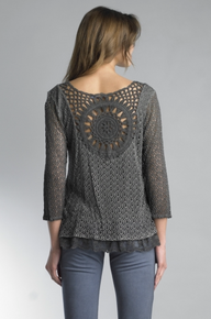 Tempo Paris Crochet Top 46BE Gray