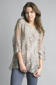 Tempo Paris Embroidered Floral Top 64413JL Taupe