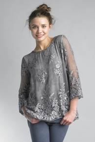 Tempo Paris Embroidered Floral Top 64413JL Gray