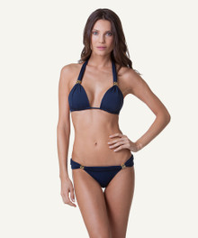 Vix Swimwear Solid Bia Tube Bikini Set Navy