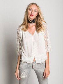 Muche et Muchette Rodney Lace Wide Sleeve Shirt White