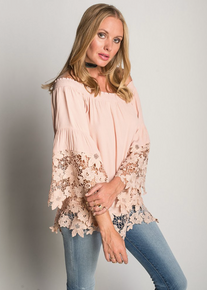 Muche et Muchette Jolie Off the Shoulder Double Lace Top Blush