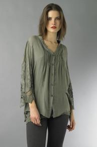 Tempo Paris Top 2788MON Button Down Shirt Olive
