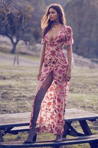 For Love and Lemons Saffron Maxi Dress Sunset Floral