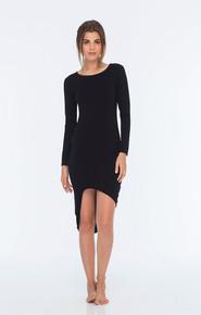 Indah Salju Asymmetrical Dress Solid Black