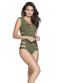 2017 Agua Bendita Bendito Verdegal One Piece Swimsuit Army Green