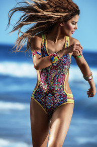 2017 Agua Bendita Bendito Etnico One Piece Swimsuit