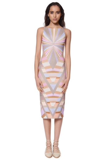 Mara Hoffman Ponte V-Back Midi Dress Print Prism Lavender