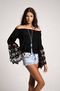 Muche et Muchette Jolie Off the Shoulder Top Black