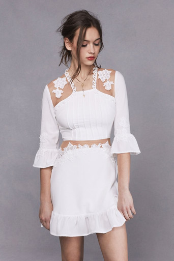 For Love and Lemons Lilou Applique Dress White