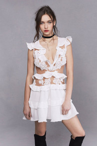 For Love and Lemons Laney Lou Applique Dress White