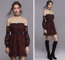 For Love and Lemons Jolene Off the Shoulder Dress Burgundy