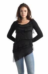 Tempo Paris Silk Tiered Top 9712MON Black