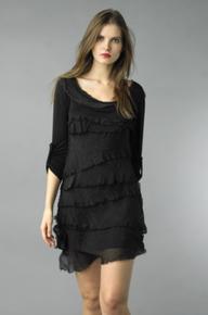 Tempo Paris Silk Tiered Dress 9713MON Black