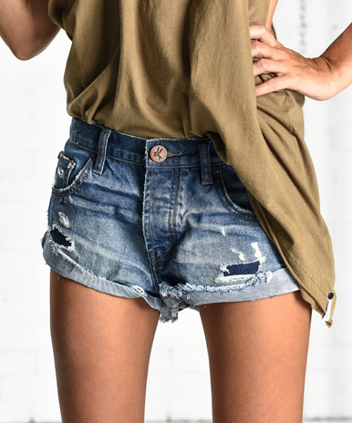 One Teaspoon Bandits Cutoff Shorts Blue Cult