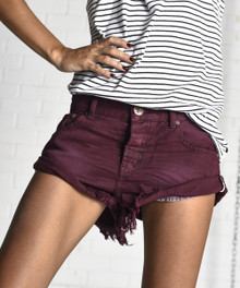 One Teaspoon Bandits Cutoff Shorts Bordeaux