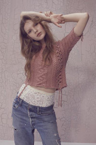 Knitz by For Love and Lemons Wythe Crop Top Rose