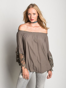 Muche et Muchette Jolie Off the Shoulder Top Army