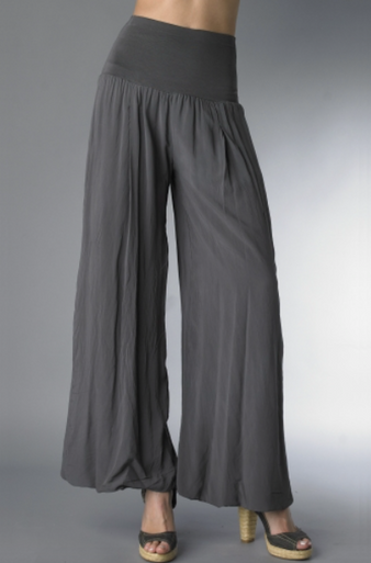 Tempo Paris Flowy Silk Blend Pants Charcoal