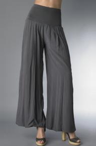 Tempo Paris Flowy Silk Blend Pants Charcoal