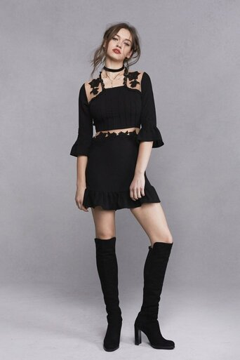 For Love and Lemons Lilou Applique Dress Black
