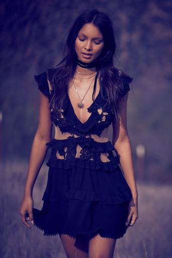For Love and Lemons Laney Lou Applique Dress Black