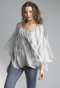 Tempo Paris Silk Embroidered Top 7233JL Silver