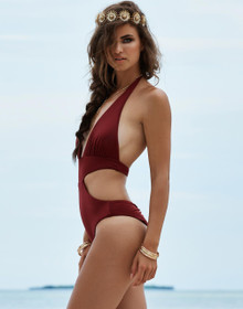 Beach Bunny Swimwear Bunny Basics One Piece Swimsuit Burgundy