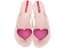 2017 Ipanema Wave Heart Flip Flop Light Pink with Hot Pink
