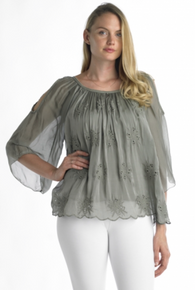Tempo Paris Cold Shoulder Silk Top 7777 Olive