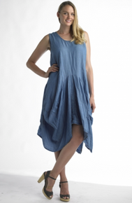Tempo Paris 70239 Chambray Bubble Dress Navy
