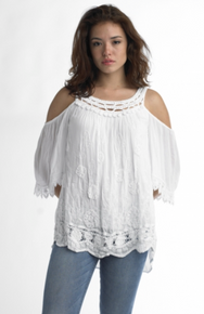 Tempo Paris 5288 Cold Shoulder Top White