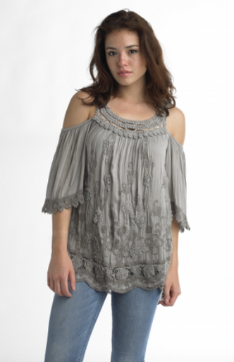 Tempo Paris 5288 Cold Shoulder Top Taupe