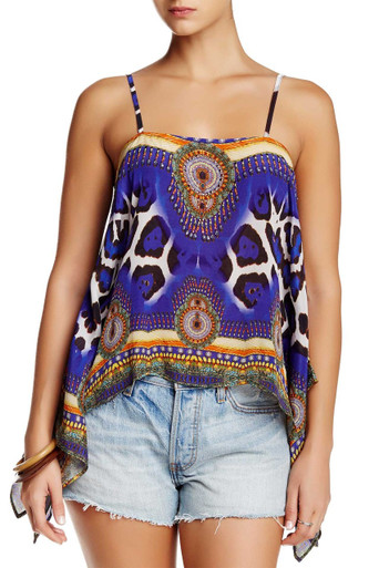 Parides Cold Shoulder Top Jaguar Blue