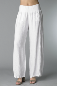 Tempo Paris Linen Pants 65075 White