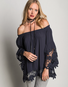 Muche et Muchette Jolie Off the Shoulder Double Lace Top Navy