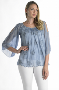 Tempo Paris Cold Shoulder Silk Top 7777 Denim