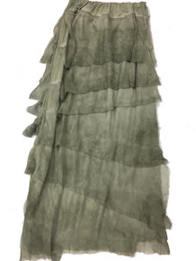 Tempo Paris 6582SO Silk Angled Tiered Skirt Olive